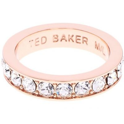 Ladies Ted Baker Rose Gold Plated Claudie Narrow Crystal Band Ring Sm TBJ1051-24-02SM