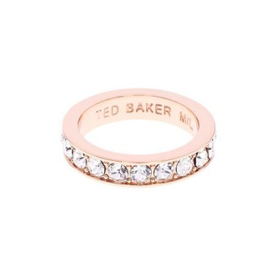 Ted Baker Dames Claudie Narrow Crystal Band Ring Ml Verguld Rose Goud TBJ1051-24-02ML