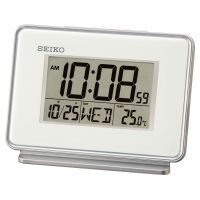 Seiko Clocks LCD Thermometer Desk Alarm Clock QHL068W