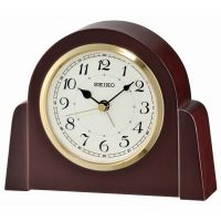 Seiko Clocks Wooden Mantel Alarm Clock QXE044B
