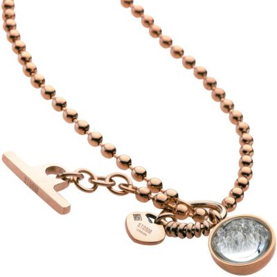 Ladies STORM PVD rose plating Crysta Ball Necklace 9980645/RG