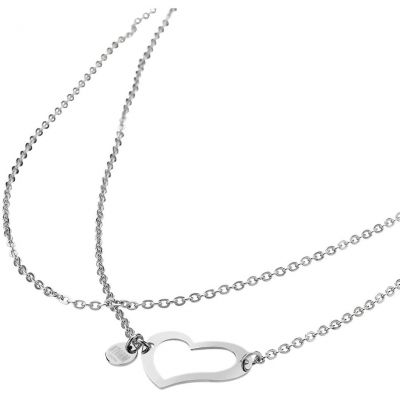 Ladies STORM PVD Silver Plated Heart Necklace HEART-NECKLACE-SILVER