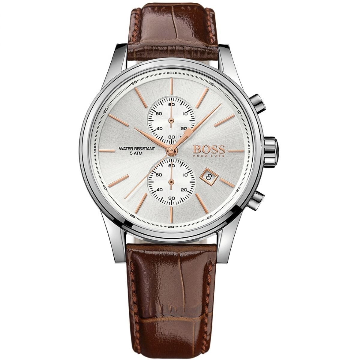 5fa901e148e1 Hugo Boss HB1513280 JET 41mm Brown Leather Strap Men's Chronograph Watch