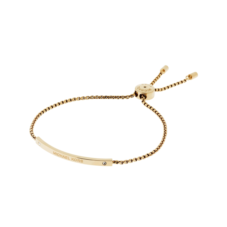 1216ee14a9c0 Shoptagr | Ladies Michael Kors Pvd Gold Plated Logo Slider Bracelet ...