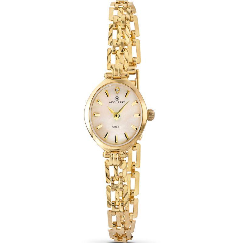 Ladies Accurist London 9ct Gold Diamond Watch