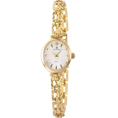 Ladies Accurist London 9ct Gold Diamond Watch 8801