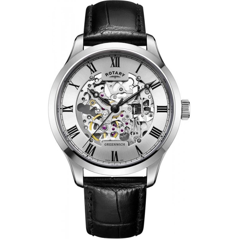 Mens Rotary Vintage Mecanique Skeleton Automatic Watch