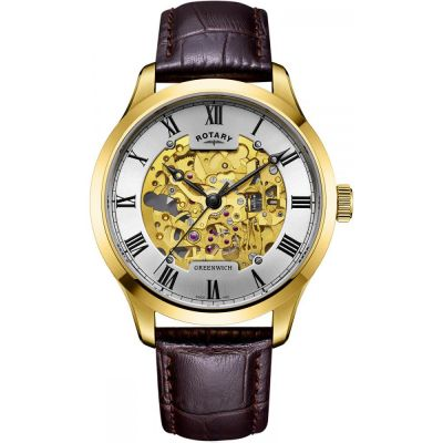 Montre Homme Rotary Vintage Mecanique Skeleton GS02941/03