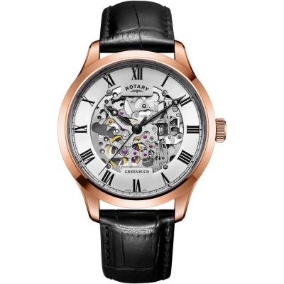Montre Homme Rotary Vintage Mecanique Skeleton GS02942/01