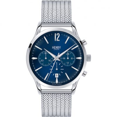Henry London Heritage Knightsbridge Herrenchronograph in Silber HL41-CM-0037