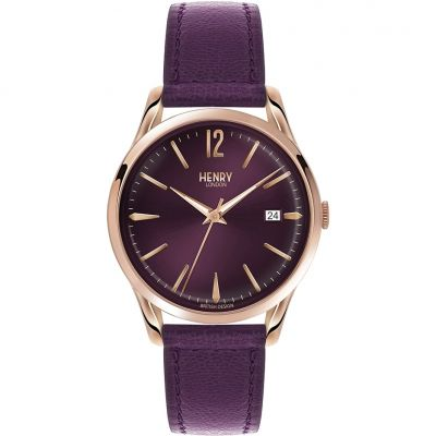Henry London Heritage Hampstead Unisexuhr in Lila HL39-S-0080