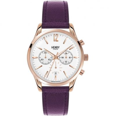 Henry London Heritage Hampstead Unisexchronograaf Paars HL39-CS-0090