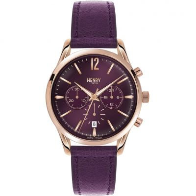Henry London Heritage Hampstead Unisexchronograph in Lila HL39-CS-0092