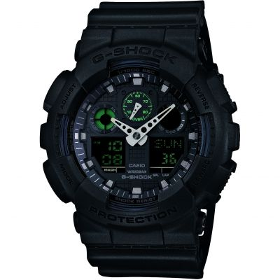 Mens Casio G-Shock Military Black Alarm Chronograph Watch GA-100MB-1AER