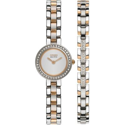 Ladies Citizen Silhouette Crystal Bracelet Gift Set Watch EX1086-68A
