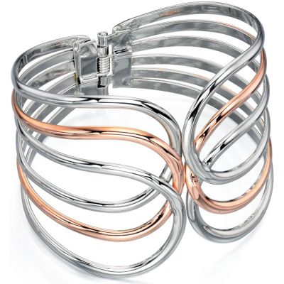 Ladies Fiorelli Two-Tone Steel and Rose Plate Bangle B4608