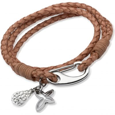 Ladies Unique & Co Stainless Steel Leather Bracelet B158NA/19CM