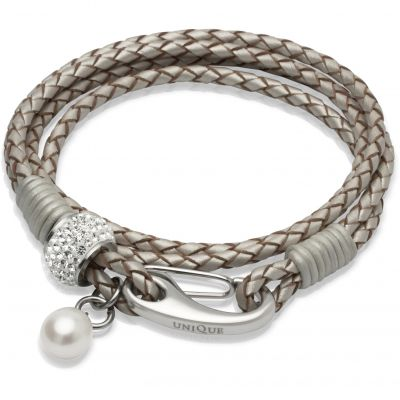 Ladies Unique & Co Stainless Steel Leather Bracelet B221PE/19CM