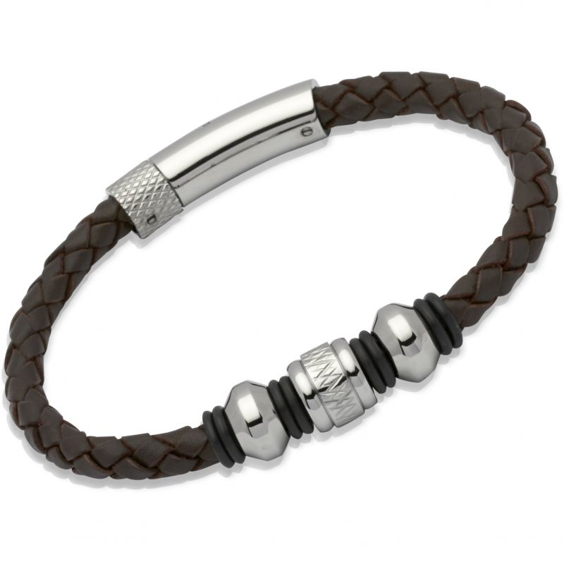 Mens Unique & Co Stainless Steel Leather Bracelet B187DB/19CM