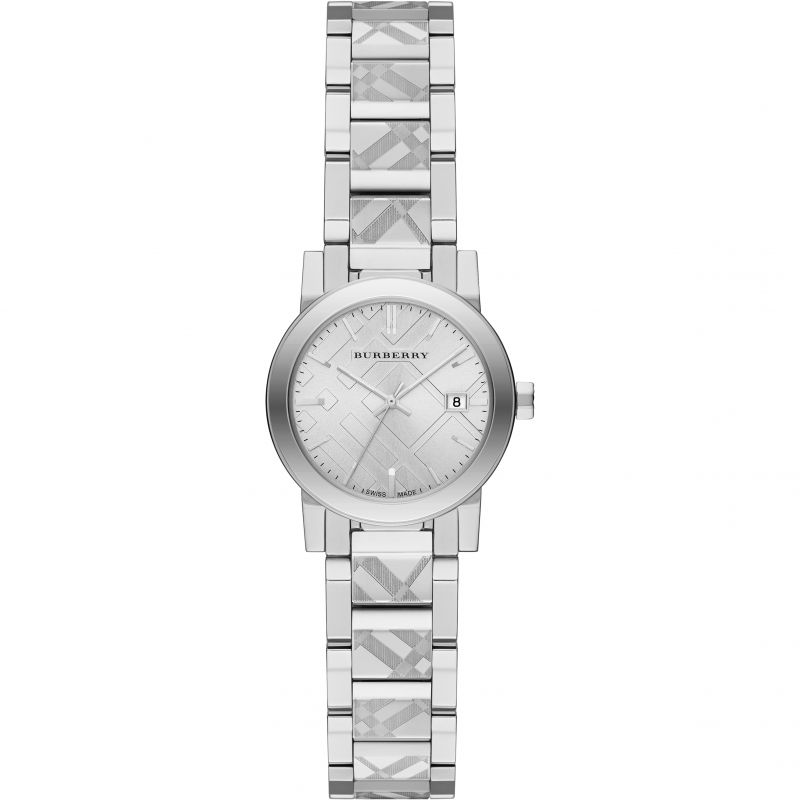 Ladies Burberry The City Engraved Check Watch