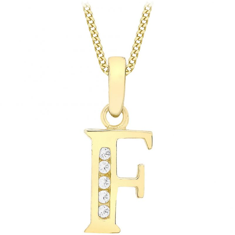 Ladies Essentials 9ct Gold Initial F Cubic Zirconia Pendant AJ-14430008