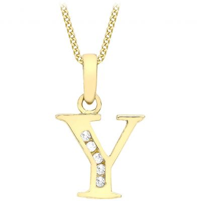 Ladies Essentials 9ct Gold Initial Y Cubic Zirconia Pendant AJ-14430024