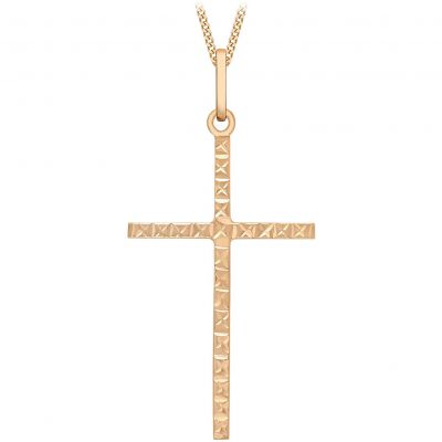 Ladies Essentials 9ct Rose Gold Diamond Cut Cross Pendant AJ-14160010