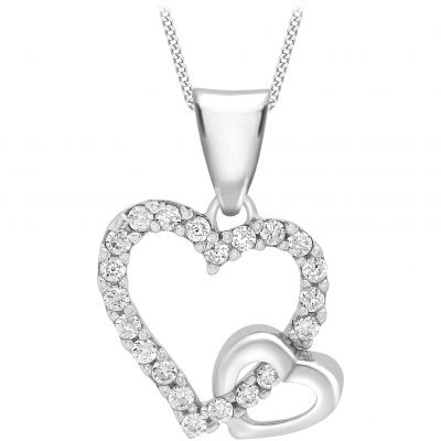 Ladies Essentials 9ct White Gold Cubic Zirconia Double Heart Pendant AJ-14410210