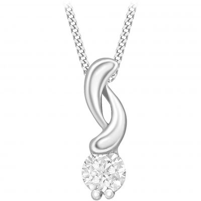 Ladies Essentials 9ct White Gold Cubic Zirconia Swirl Pendant AJ-14410198