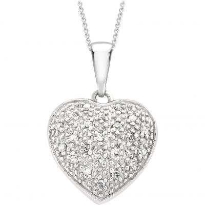 Damen Jewellery Essentials Diamond Heart Anhänger 9 Karat Weißgold AJ-12142519