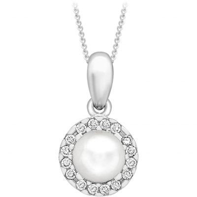 Damen Jewellery Essentials 5mm Pearl and Cubic Zirconia Anhänger 9 Karat Weißgold AJ-14410216