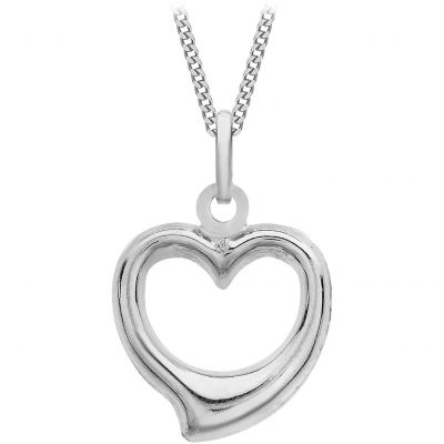 Damen Jewellery Essentials Small Open Heart Anhänger 9 Karat Weißgold AJ-14400078