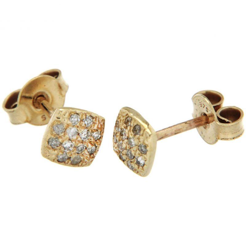Ladies Essentials 9ct Gold Diamond Stud Earrings