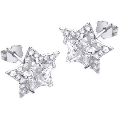 Ladies Essentials 9ct Gold Cubic Zirconia Star Stud Earrings AJ-15040249