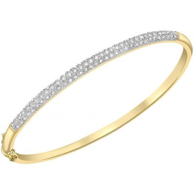 Ladies Essentials 9ct Gold Diamond Set Bangle AJ-12110671