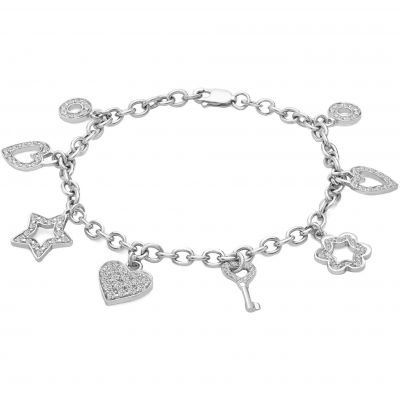 Ladies Essentials 9ct White Gold Charm Bracelet AJ-11050048