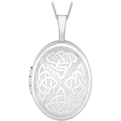 Jewellery Essentials Dames 16mm Celtic Locket 9K Witgoud AJ-14010043