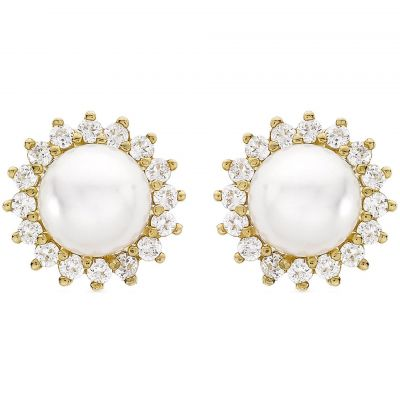 Ladies Essentials 9ct Gold Pearl and Cubic Zirconia Stud Earrings AJ-15010230