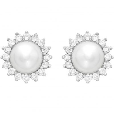Bijoux Femme Jewellery Essentials Pearl and Cubic Zirconia Stud Boucles d'oreilles AJ-15010249