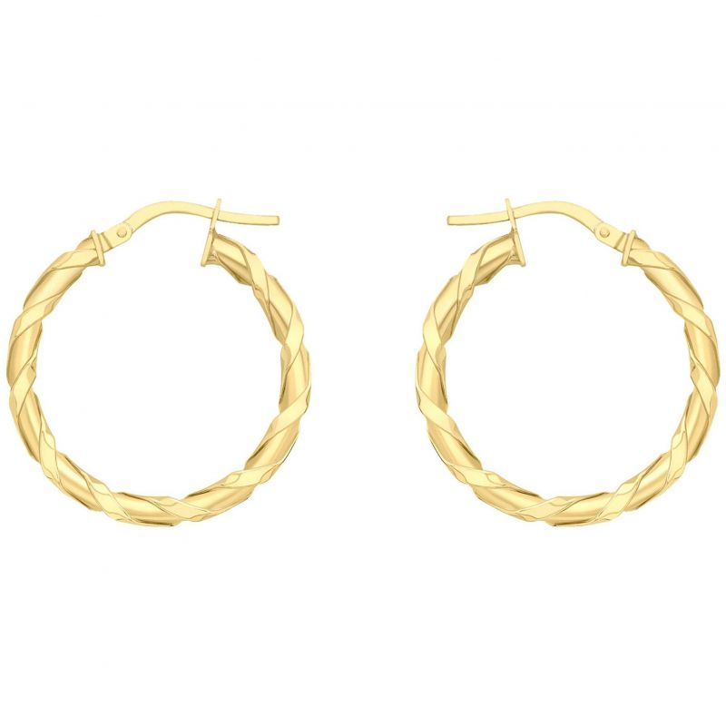 Ladies Essentials 9ct Gold Twist Hoop Earrings AJ-15030481