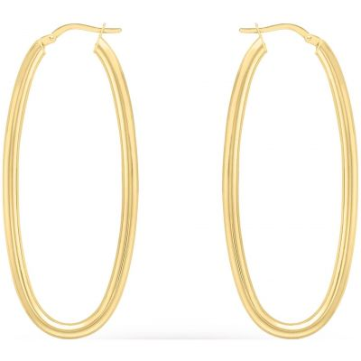 Ladies Essentials 9ct Gold Oval Hoop Earrings AJ-15030438