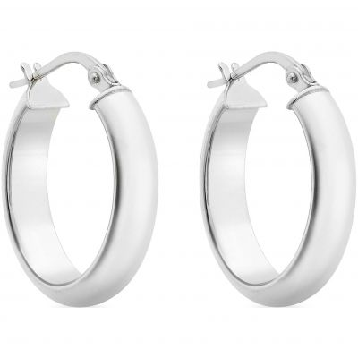 Ladies Essentials 9ct White Gold Hoop Earrings AJ-15030535