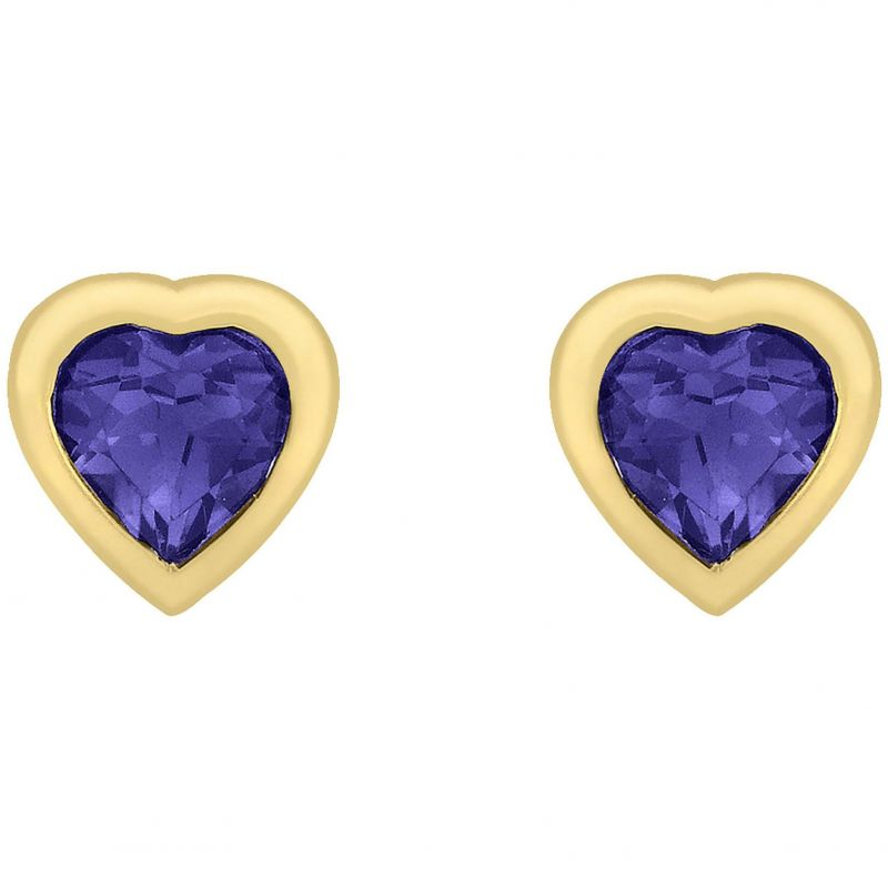 Ladies Essentials 9ct Gold Heart Iolite Stud Earrings