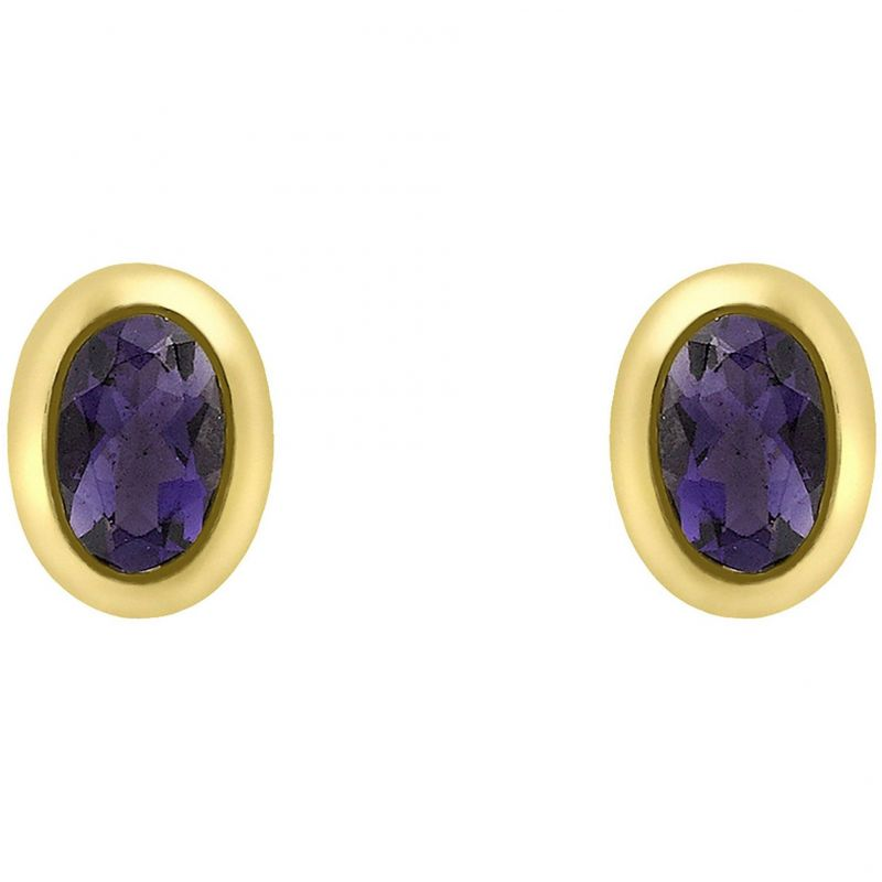 Ladies Essentials 9ct Gold Oval Iolite Stud Earrings
