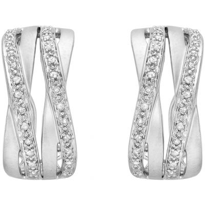 Ladies Essentials 9ct White Gold Diamond Cross Over Earrings AJ-12152340