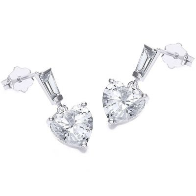 Ladies Essentials 9ct White Gold Cubic Zirconia Earrings AJ-15040257