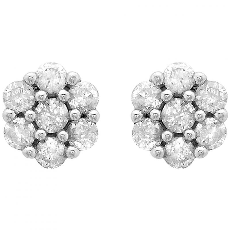 Ladies Essentials 9ct White Gold 0.25ct Diamond Cluster Stud Earrings AJ-12152374