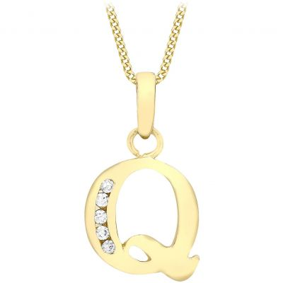 Ladies Essentials 9ct Gold Initial Q Cubic Zirconia Pendant AJ-14430016