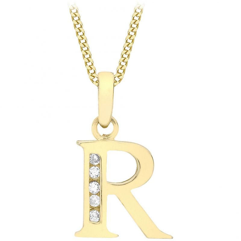 Ladies Essentials 9ct Gold Initial R Cubic Zirconia Pendant AJ-14430017