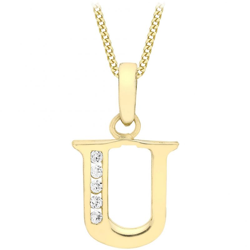 Ladies Essentials 9ct Gold Initial U Cubic Zirconia Pendant AJ-14430020